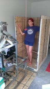 Here I am  happily helping Ben move our brew structure out of its box into our garage.