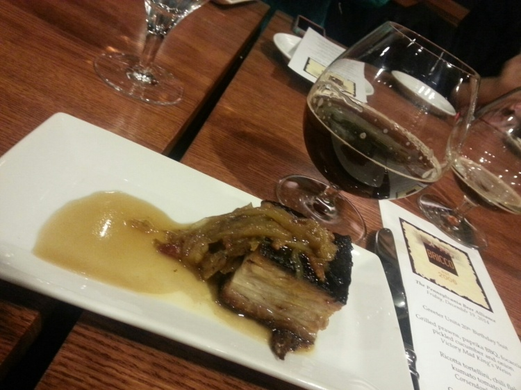 Crispy pork belly with Michigan maple syrup and endive marmalade paired with Rogue Marionberry Braggot. #nom